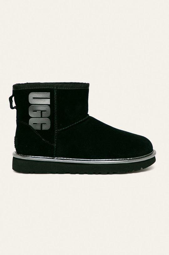 čierna UGG - Členkové topánky W Classic Mini Ugg Rubber Logo Dámsky