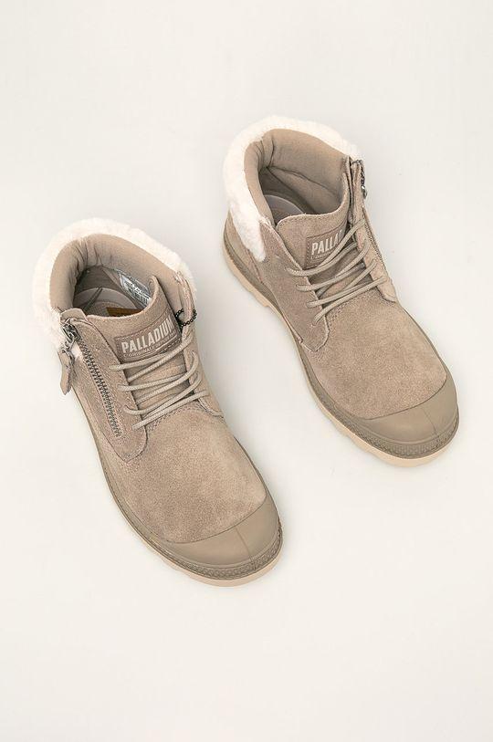 Palladium - Kožené kotníkové boty světle šedá