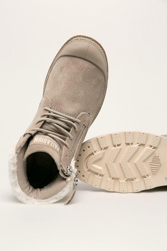 světle šedá Palladium - Kožené kotníkové boty
