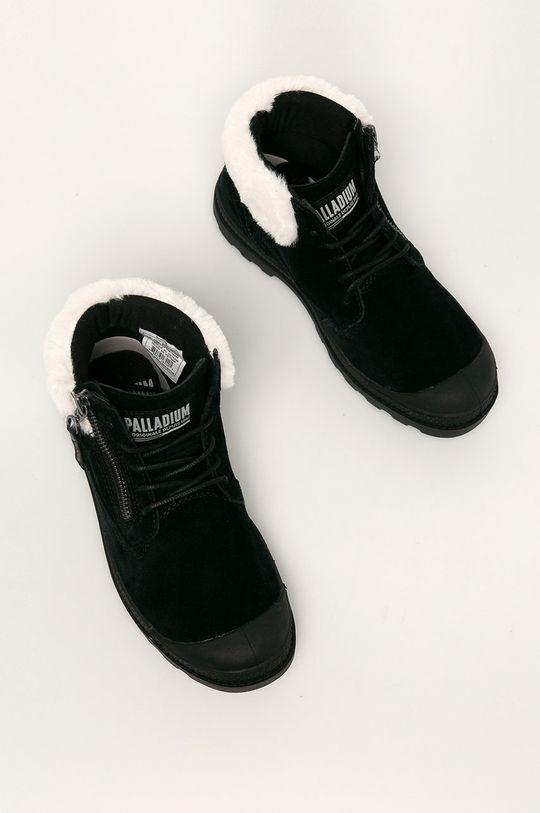 Palladium - Kožené kotníkové boty černá