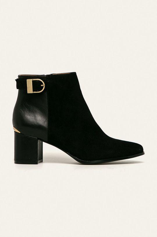černá Calvin Klein - Kožené kotníkové boty Dámský