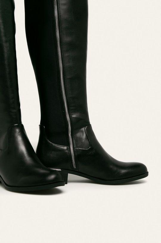 Calvin Klein - Kožené kozačky černá