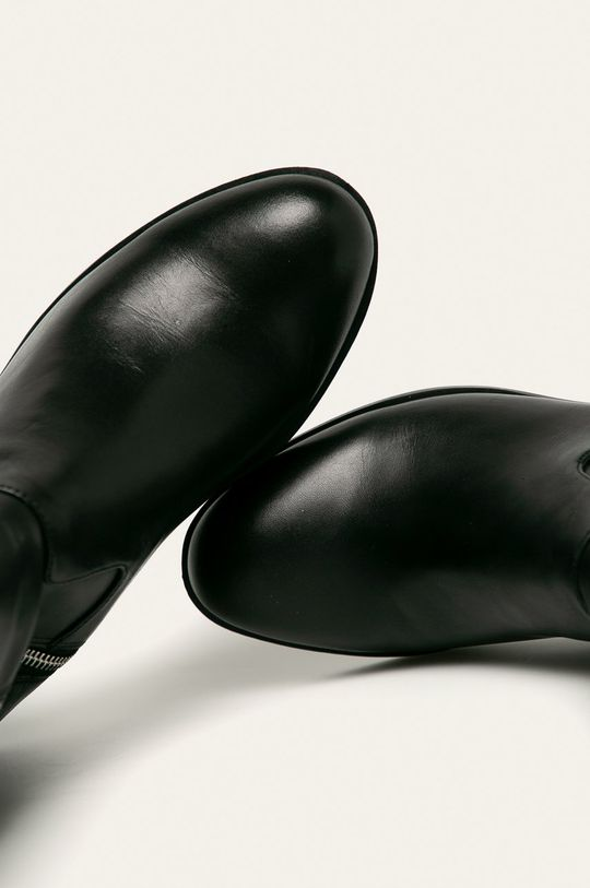 černá Calvin Klein - Kožené kozačky