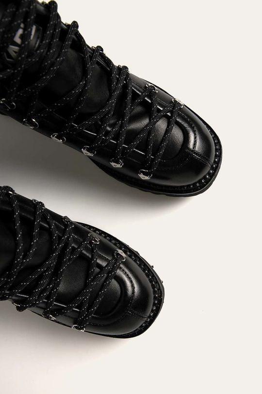 czarny Karl Lagerfeld - Workery skórzane