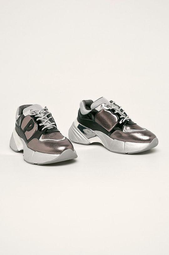 Pinko - Kožené boty stříbrná