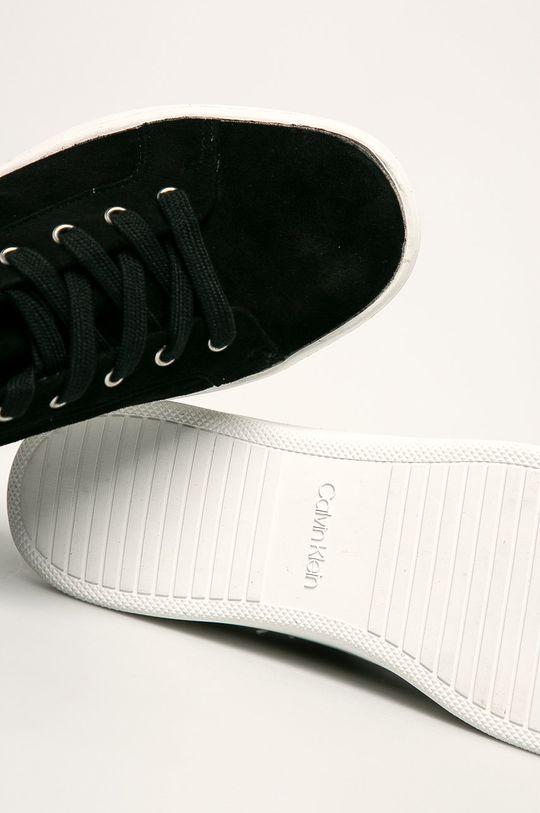 čierna Calvin Klein - Kožené tenisky