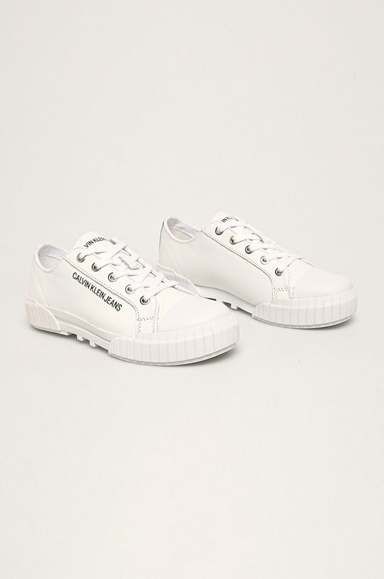 Calvin Klein Jeans - Kožené tenisky bílá