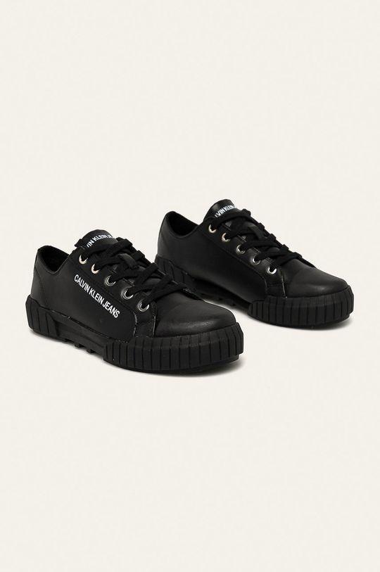 Calvin Klein Jeans - Kožené tenisky černá