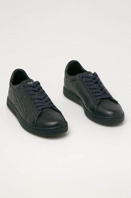 EA7 Emporio Armani - Kožené boty námořnická modř