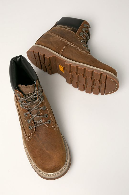 hnědá Caterpillar - Kožené boty