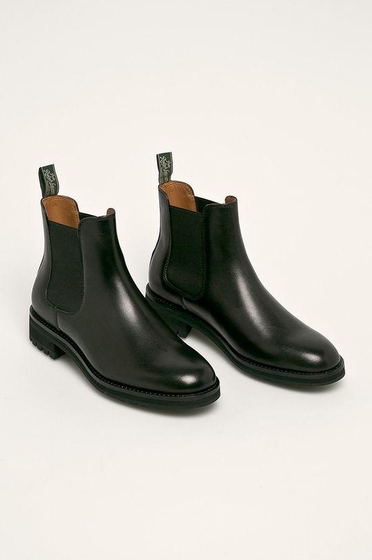 Polo Ralph Lauren - Kožené boty s gumou černá