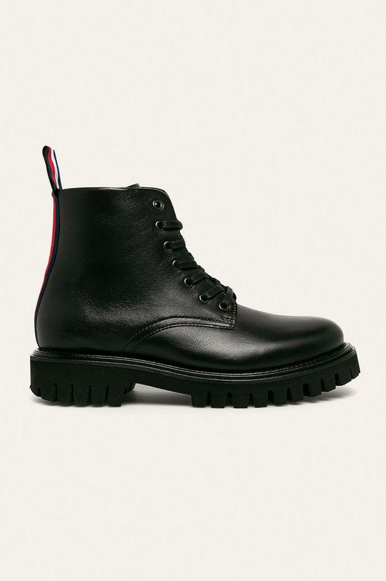černá Tommy Hilfiger - Kožené boty Pánský