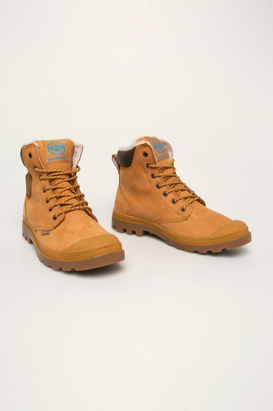 Palladium - Kožené boty zlatohnědá