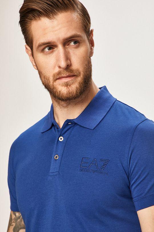 modrá EA7 Emporio Armani - Pánske polo tričko Pánsky