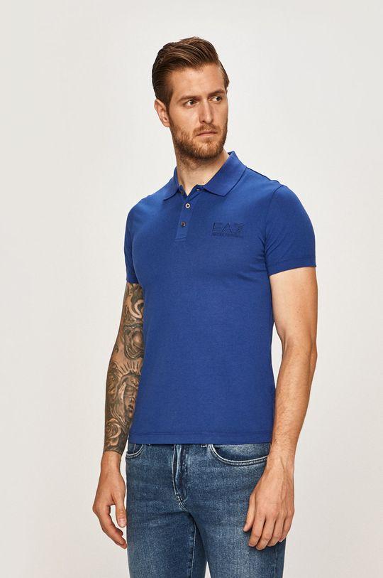 modrá EA7 Emporio Armani - Pánske polo tričko