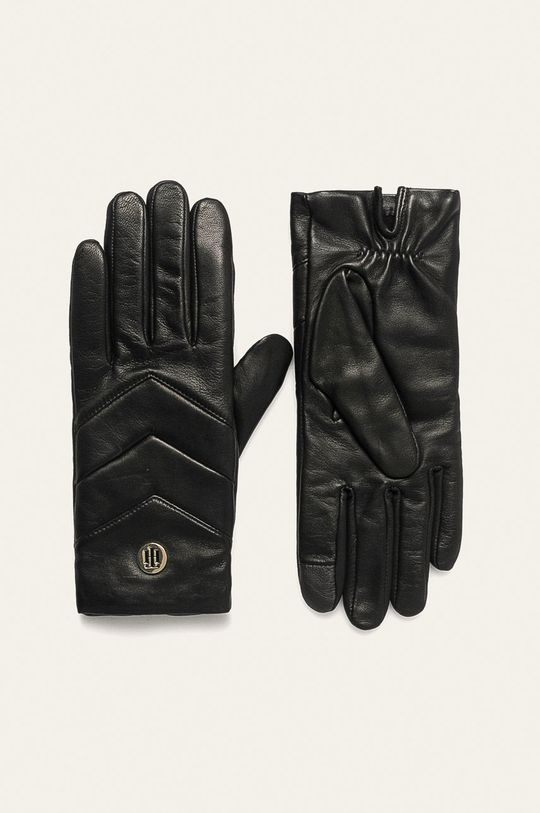 čierna Tommy Hilfiger - Kožené rukavice Dámsky