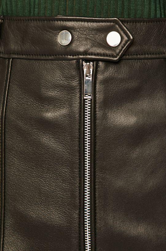 čierna Pepe Jeans - Kožená sukňa Jackson