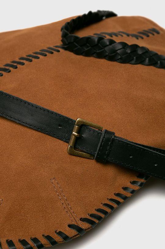 Pepe Jeans - Kožená kabelka hnědá