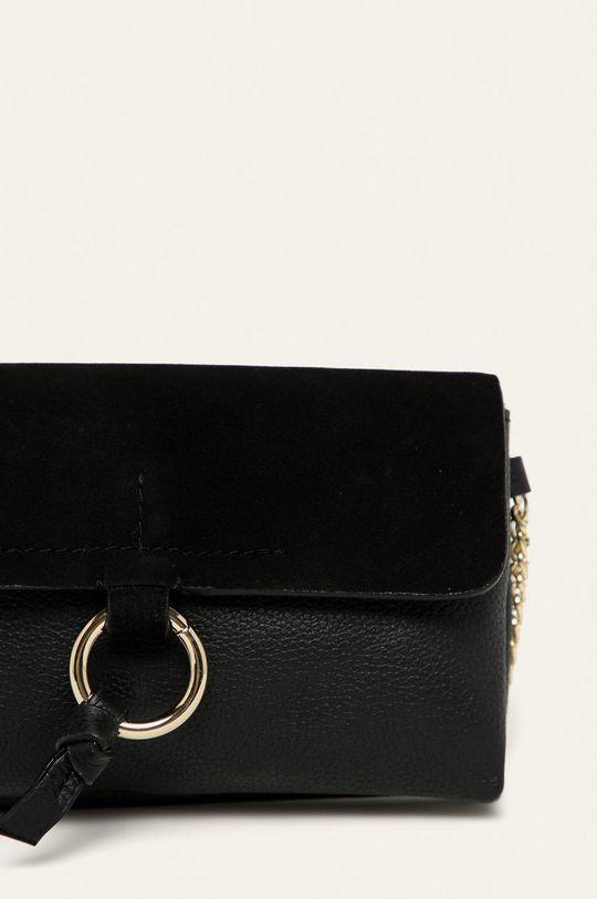 Pieces - Kožená kabelka černá