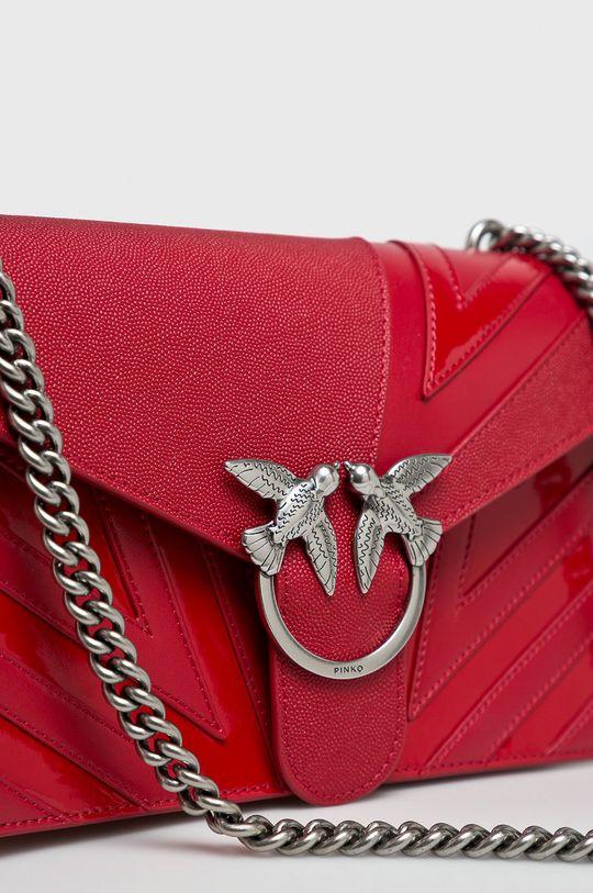 Pinko - Kožená kabelka ostrá červená