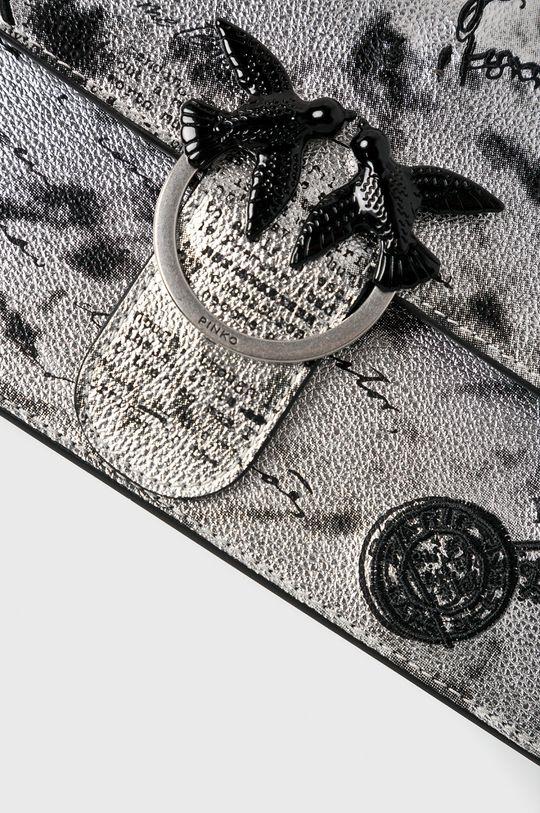 Pinko - Kožená kabelka stříbrná