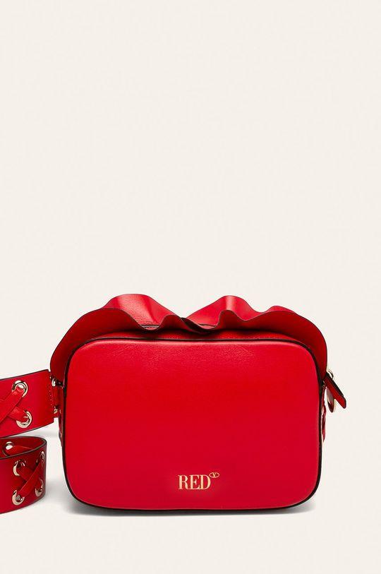 červená Red Valentino - Kožená kabelka Dámsky
