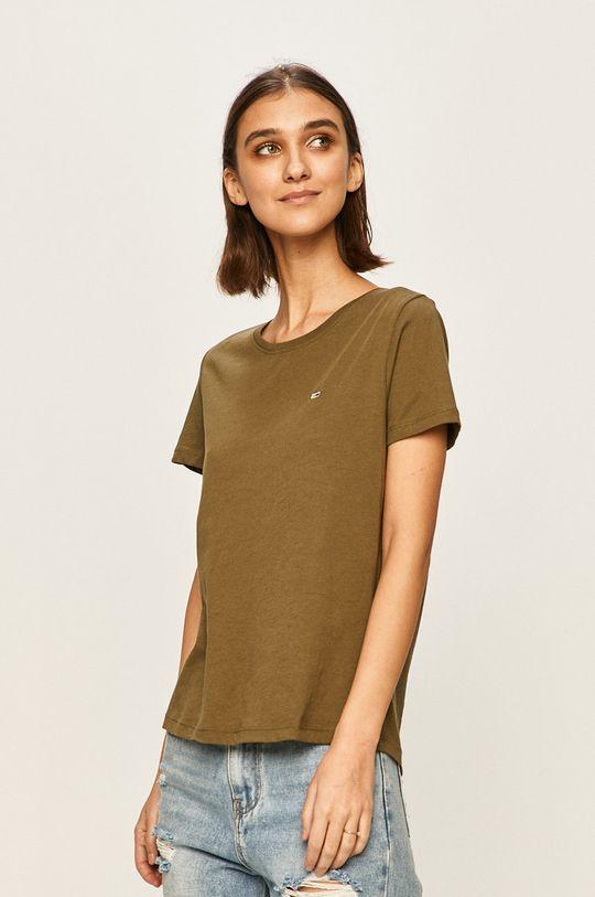 oliwkowy Tommy Jeans - T-shirt Damski
