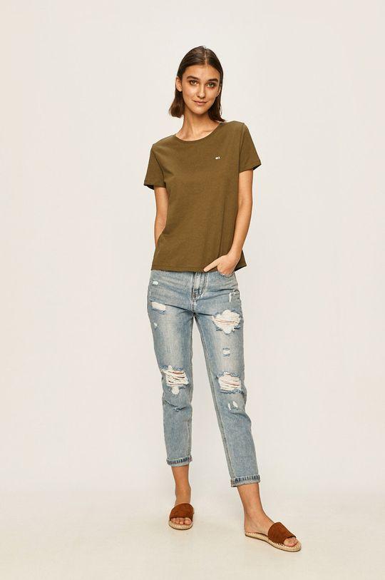 Tommy Jeans - T-shirt oliwkowy