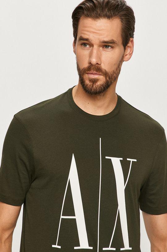 ciemny zielony Armani Exchange - T-shirt Męski