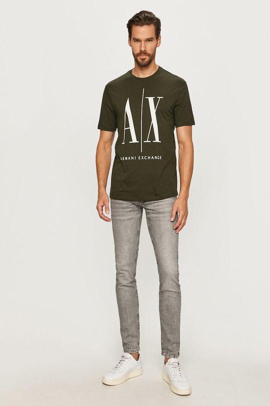 Armani Exchange - T-shirt ciemny zielony