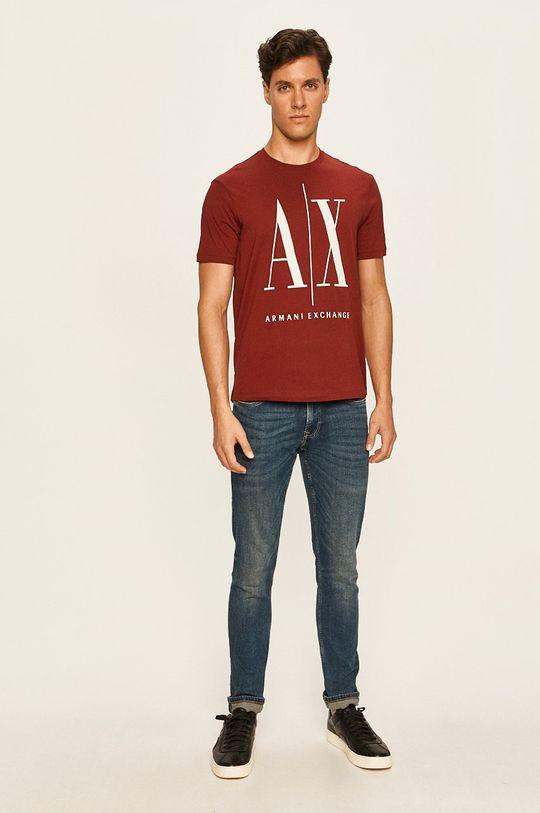 Armani Exchange - Pánske tričko gaštanová
