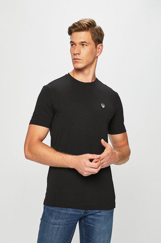 czarny EA7 Emporio Armani - T-shirt Męski