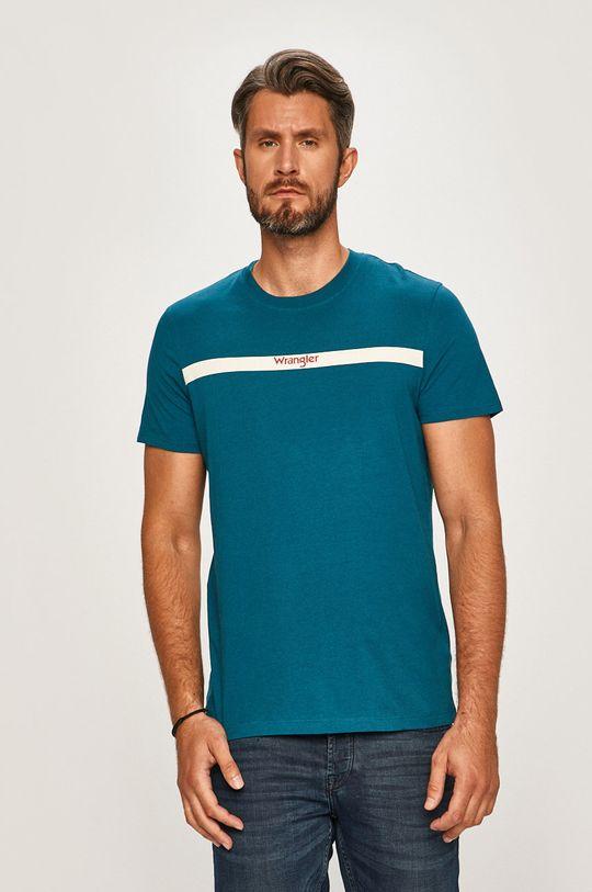 modrá Wrangler - Pánske tričko Pánsky
