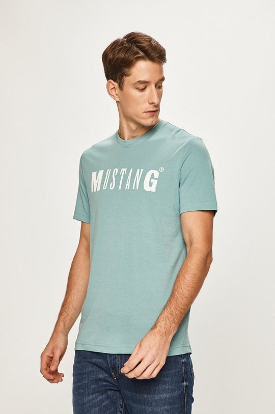 svetlomodrá Mustang - Pánske tričko Pánsky