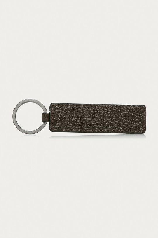 Calvin Klein - Kožená kľúčenka hnedá