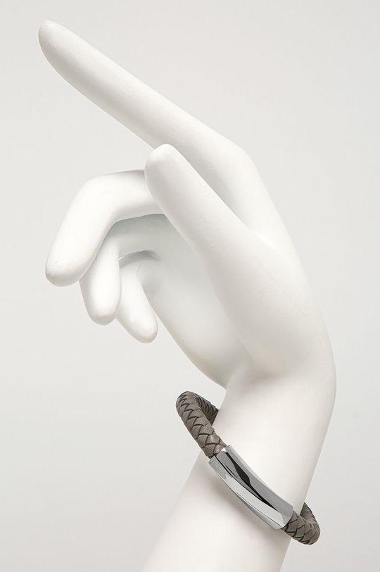 šedá Calvin Klein - Kožený náramek Pánský