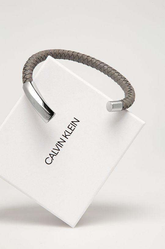 Calvin Klein - Kožený náramek šedá