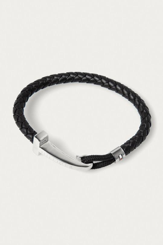černá Tommy Hilfiger - Kožený náramek Pánský