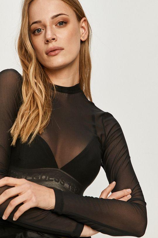 čierna Guess Jeans - Tričko s dlhým rukávom