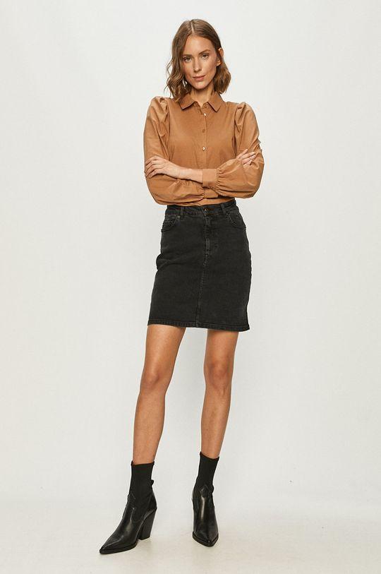 Vero Moda - Koszula bawełniana brązowy