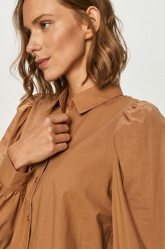 brązowy Vero Moda - Koszula bawełniana