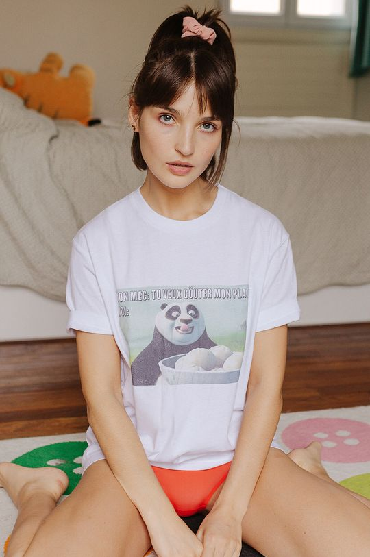 Undiz - Pyžamové tričko KUNGFUPANDIZ bílá