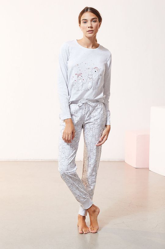 biały Etam - Komplet piżamowy 3-częściowy OANA Damski