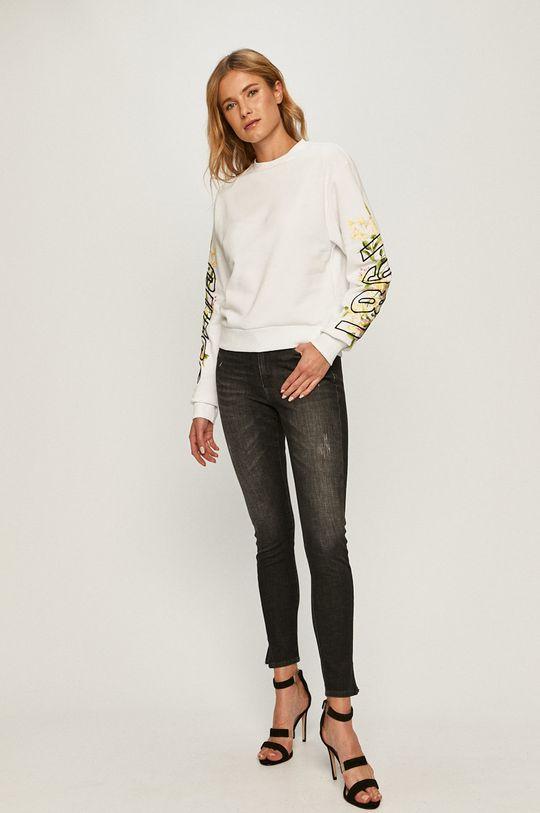 Guess Jeans - Bavlnená mikina biela