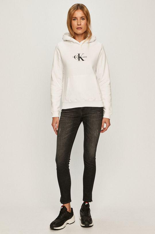 Calvin Klein Jeans - Hanorac de bumbac alb