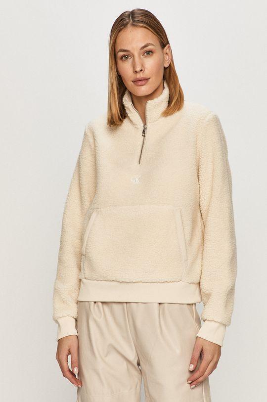krémová Calvin Klein Jeans - Mikina Dámsky