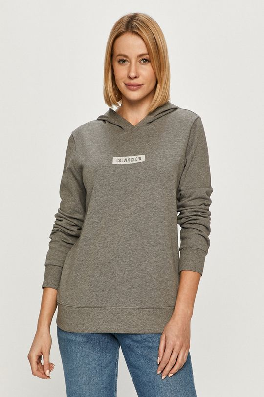 szary Calvin Klein Performance - Bluza bawełniana Damski