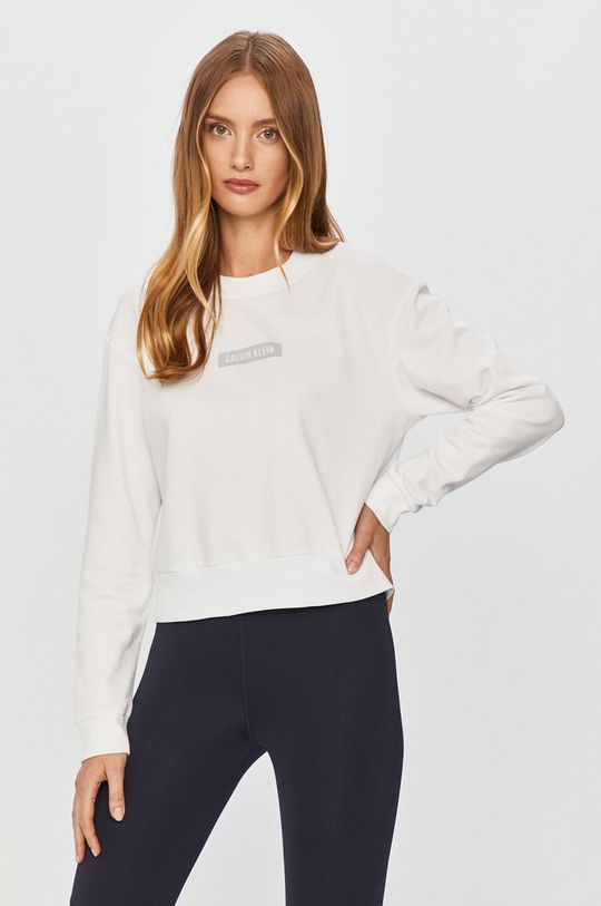 biela Calvin Klein Performance - Bavlnená mikina Dámsky