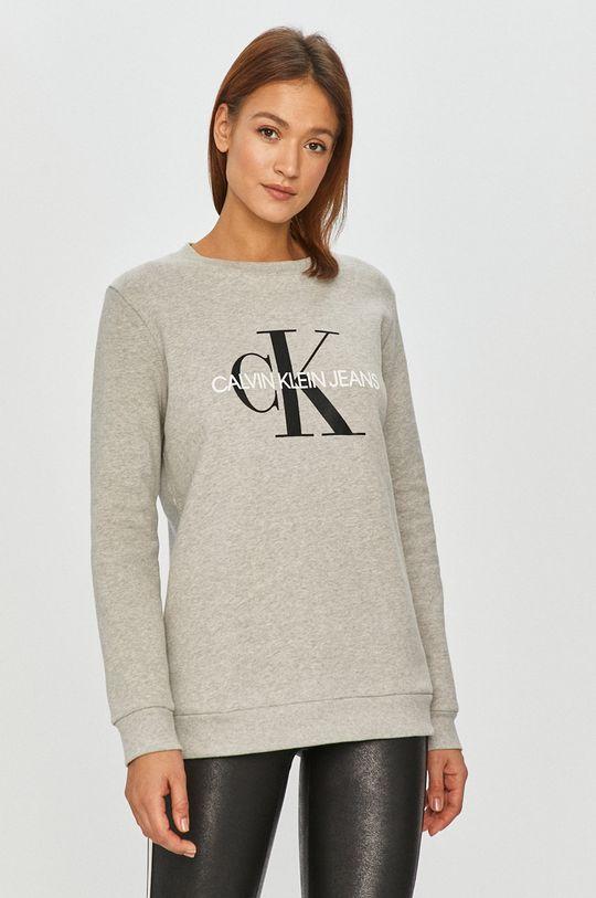 světle šedá Calvin Klein Jeans - Bavlněná mikina Dámský