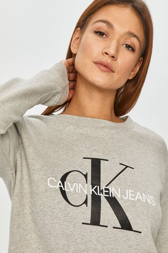 světle šedá Calvin Klein Jeans - Bavlněná mikina